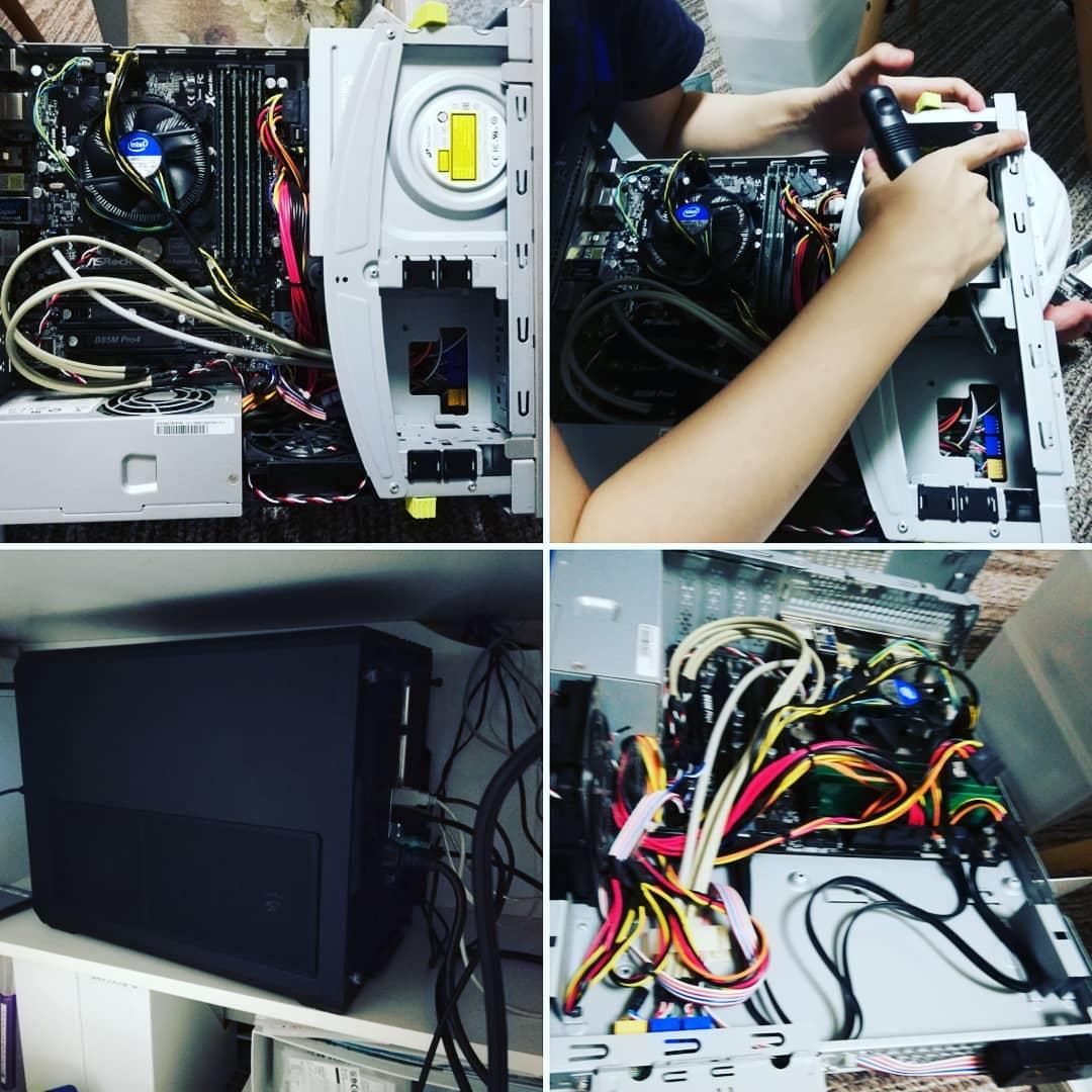 長男が組み立ててくれたパソコンがつぶれた😱  ただいま二男が、何が壊れてるかを調査中。  Windows7でしか動かないソフトがあるので、これはこれで使えるようにしたい。  まさかのときのために、壊れてもすぐ使えるように、すべてのデーターを外付けハードディスクに保管してたのでよかった。  余ってるからと送ってもらっておいたこれまた長男が組み立てたパソコンに繋げなおして、無事使えました。(黒くてごつい📷左下 もともとサーバー用に買ったらしい)  ソフトは、セットアップしないといけませんけどね。  こちらはWindows10  壊れたパソコンと格闘中の二男。 無事なおりますように。  と言ってる間に、新しいパソコンに、古いパソコンのハードを繋げなおして、検証したら、どうもハードディスクが、壊れてるようです  ショック😱  ということは、ハードディスクだけ買えばまたなおせるみたいですが!  このへんのことになったら、わたしは✋😖✋お手上げです。